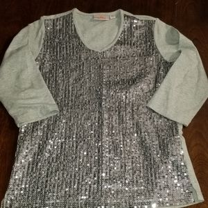 Xs silver and grey sequin shirt.
